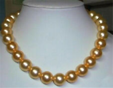 Fashion 10mm Round Gold Yellow South Sea Shell Pearl Necklace 18''