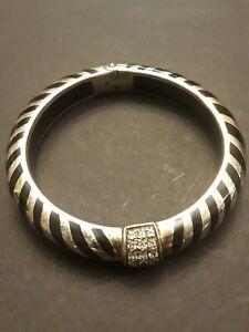 ANGELIQUE de PARIS Sterling Silver CZ Enamel Chevron Hinged Bangle Bracelet