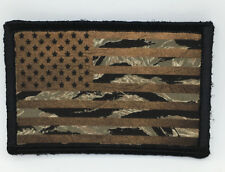 Brown & Tiger Stripe Camo USA Flag Morale Patch Tactical ARMY Military Subdued