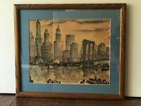 New York City Skyline Brooklyn Framed Print in Style of J.M. GALLAIS 1960s MCM