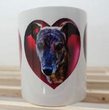 Dog Mug 1 x Brindle Greyhounds Mug, Hearts & Brindles, Valentines Gift % charity