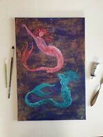 Gemälde Öl handgemalt Original Signiert Kunst Meerjungfrau 40x60 SR-Arts