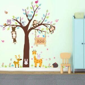 Wandtattoo Wandaufkleber Tiere Affe Giraffe Eule Zoo Baum Kinderzimmer