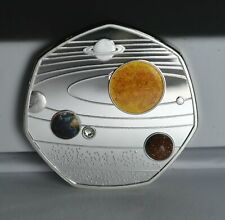 OUR SOLAR SYSTEM. 50P COIN COLLECTORS. WITH ADDED DIAMANTE.GEMS. HIGHLIGHTS NEW