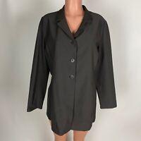 Eileen Fisher Womens Blazer Jacket Gray Long Three Button Stretch Pockets Size L