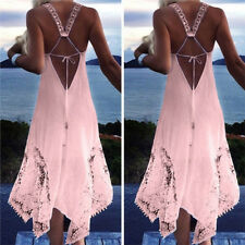 Plus Size Women Sleeveless Lace Backless Beach Ball Gown Long Maxi Dress Plus
