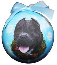 "Black Pit Bull-Shatterproof Ball Ornament-3""- by E & S Pets"