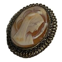 VINTAGE MP 800 Silver MADONNA CAMEO PIN Pendant GOLD VERMEIL Carved Shell BROOCH