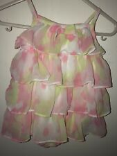 Baby Girls Fao Pink/Green Ruffle Bubble Outfit 3-6 Months