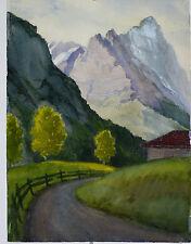 Aquarelle Montagne Suisse Henri Gommers 1962