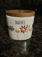 "Rae Dunn ""BRUSHES"" Floral Bathroom Brush Toothbrush Holder with Wood Trim VHTF"