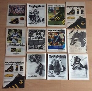 Lot Of Original 1970's & 80's Adidas Rugby Boots Adverts Uk Freepost