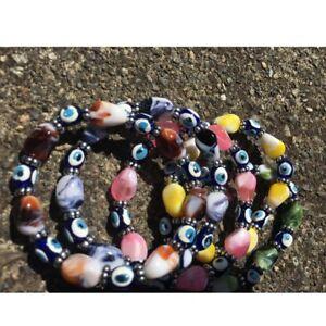 3x/3pcs Turkish Evil Eye/Nazar Charm Beads Elastic/Stretch Bracelet/Mixed Colors