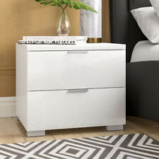 Cosmoliving Alexia 2 Drawer Bedside White High Gloss Nightstand