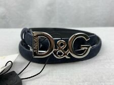 Authentic D&G Dolce&Gabbana Junior Blue Suede Logo Buckle Skinny Belt 77cm