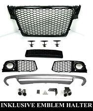 Für Audi A4 B8 08-12 RS4 Look Wabengrill + S4 Look Diffusor Sportauspuff Grill