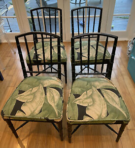 chinese chippendale chinoiserie faux bamboo wood chairs set of four