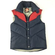 Vintage Polar Gear Down Puffer Puffy Vest Mens Sz XS 70s Retro Navy Red Collar