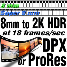 Super 8mm Movie Film 18fps to 2K HDR ProRes422 HQ or DPX Files Scanning Transfer