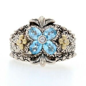 Barbara Bixby Blue Topaz Flower Ring Silver & Yellow Gold - 925 & 18k Size 7