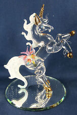 Unicorn rearing up with Butterfly hand made Glass Figurine Mythical Fantasy
