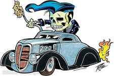 Rockabilly Low Rider Knuckle Skull Sticker Decal Artist The Pizz P67