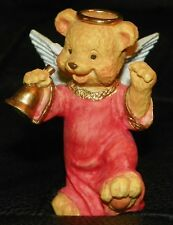 NIB ANGEL TEDDY BABIES Bear Figurine Halo Bell Wings Christmas Church Religious