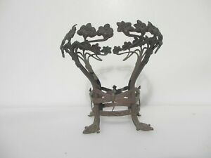 Antique Brass Base Holders Stand Old Victorian Art Nouveau Butterfly Flowers