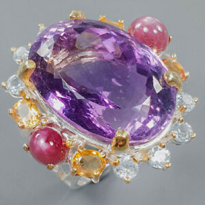 Special Beautiful 40 ct+ Amethyst Ring Silver 925 Sterling  Size 7.75 /R162674