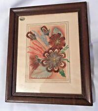 VINTAGE PRAIRIE PICTURES Handmade by Ellen Kiefert-Feather-Flowers-Frame & Mat