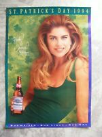 Vintage 1994 Bud Light Budweiser Beer Poster Sexy KATHY IRELAND St Patrick's Day
