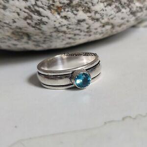 Blue Topaz Spinner Ring 925 Sterling Silver Plated Handmade Ring Size 8 JP340