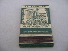 Vintage Matchbook: Taunton Inn Poughkeepsie Inn Herring Run Dutchess Restaurant