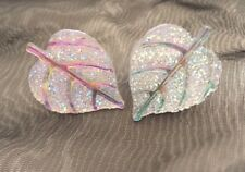 Silver White Autumn Leaf Leaves Shaped Sparkle Clip On Stud Earrings Free Post
