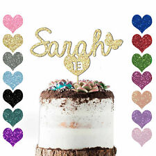 Peronalised Name Age Girls Boys Kids Heart Happy Birthday Butterfly Cake Topper