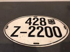 Vintage German Oval License Plate Eagle