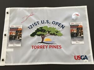 JON RAHM SIGNED Authenic  2021 U.S.Open Flag & Personal Golf Ball, JSA'S!