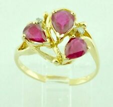 PEAR Shape Ruby and Diamond Cocktail Ring 14k Yellow Gold