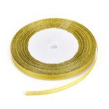 25yards/rool Silk Ribbon Gold/Sliver Wrapping Christmas Decorative DIY 6mm CA