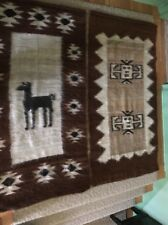 """Vintage 2 Large ALPACA Hair WALL HANGING, HAND WOVEN, From Peru 64 X 34"""""""