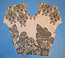 WET SEAL Women Junior Knit Top Blouse Sz XS Black White Paisley Pattern Dolman