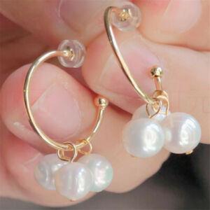 Natural Pearl gold Earrings eardrop 18KGP Chain girl Gift Hook Party