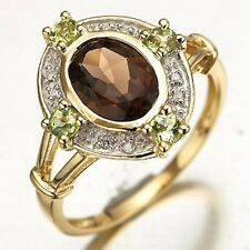 Women's Nobby Size 7 Round Cut Brown Tanzanite 10K Gold Filled Anniversary Ring
