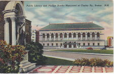 Public Library & Phillips Brooks Monument, Boston, MA,  Linen  Postcard