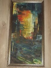 ORIGINAL ABSTRACT OIL ACRYLIC PAINTING ON CANVAS SIGNED ALONSO FRAMED
