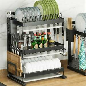 3 Tier Kitchen Dish Drainer Cutlery Holder Drip Tray Plates Bowls Drying Rack
