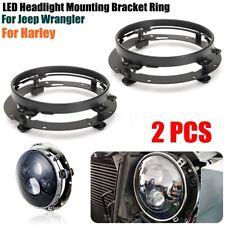 2Pcs 7'' LED Motorcycle Headlight Mounting Ring Bracket For Jeep Wrangler Honda