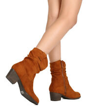 New Women Nature Breeze Kira-01 Faux Suede Chunky Heel Slouchy Riding Bootie