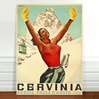 "Stunning Vintage Travel Poster Art ~ CANVAS PRINT 36x24"" ~ Ski Cervinia Italy"