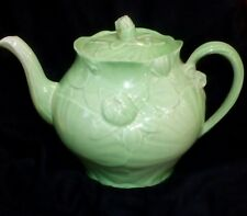 Vintage Green Musical Tea Pot by Thorens England Silverite Co NY (CO64)